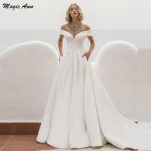 Женское атласное свадебное платье magic awn элегантное трапеция
