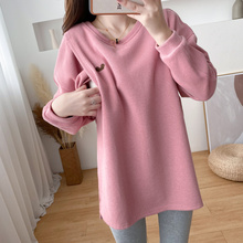 Jacket Nursing-Clothes 9115 Pregnant Sweater Pullover Winter for Warm Embroidered Postpartum