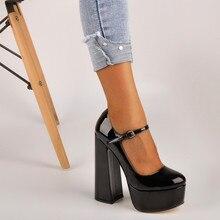 Onlymaker Frauen Mary Jane Plattform Chunky 15 ~ 16CM Hohe Pumpen Heels Ankle Strap Kleid Hoof Heels Schwarz schuhe Plus Größe
