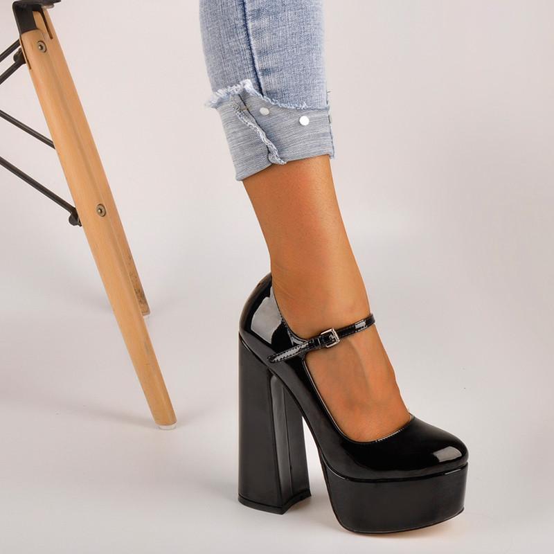Onlymaker Womens Mary-Jane Platform Chunky 15~16CM High Pumps Heels Ankle Strap Dress Hoof Heels Black Shoes Plus Size