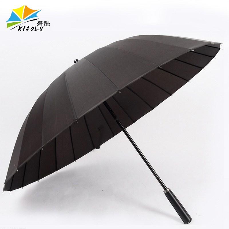 Long Umbrella Wholesale Solid Color 24 Bone Men Business Straight Umbrella New Style Business Wind-Resistant Straight Umbrella A