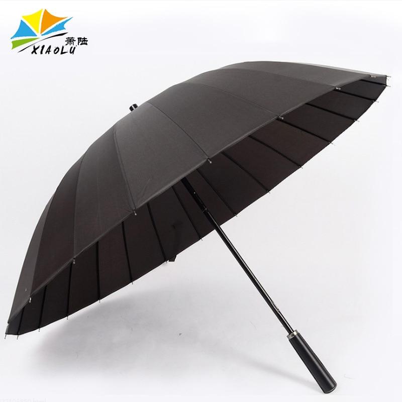 Long Umbrella Wholesale Solid Color 24 Bone Men Business Straight Umbrella New Style Business Wind-Resistant Straight Umbrella A