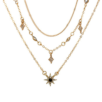 Laramoi Women's Necklace Multilayered Golden Clavicle Chain Stars Geometric Rhinestone Pendant Party Jewelry 3