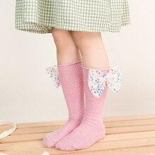Носки для новорожденных мальчиков и девочек осень большой бант платье принцессы с бантиком, одежда для малышей, детские носки до колена с украшением в виде банта гетры
