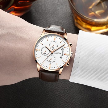 2021 Relogio Masculino Watches Men Fashion Sport Stainless Steel Case Leather Band watch Quartz Business Wristwatch Reloj Hombre - Brown Rose White