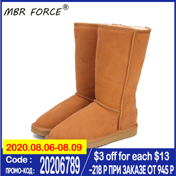 MBR FORCE Genuine leather Fur Snow boots women Top High quality Australia Boots  Winter Boots for women Warm Botas Mujer top fashion 2018 real wool botas mujer high quality genuine sheepskin leather snow boots natural fur waterproof women shoes