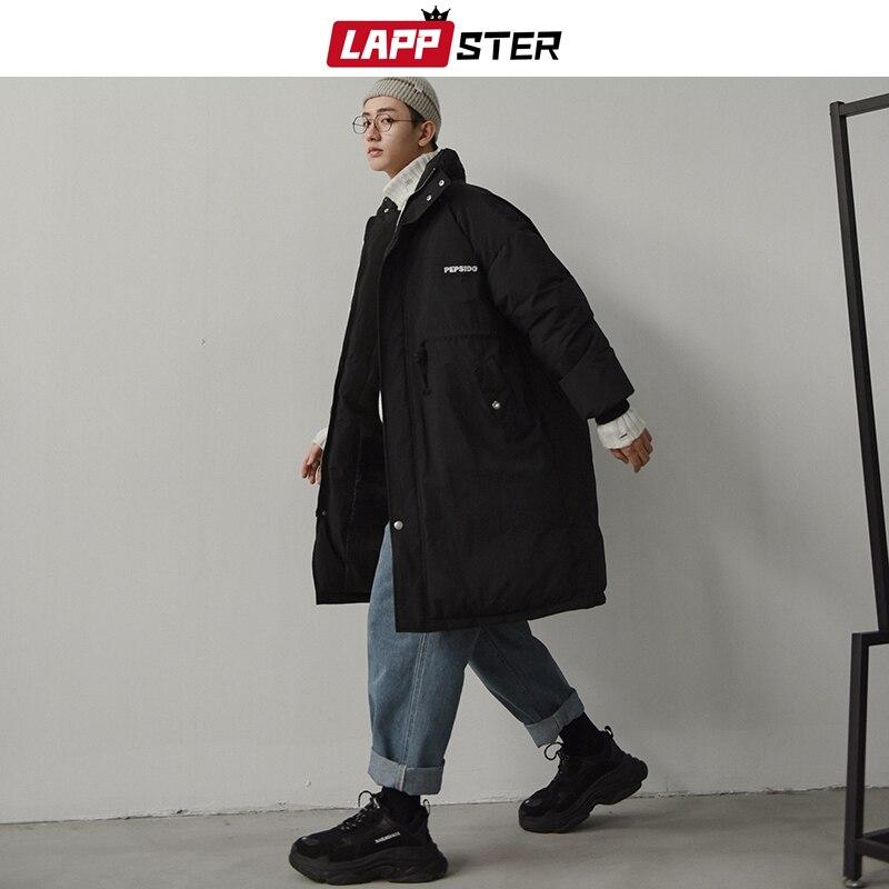 LAPPSTER Winter Jacket Men Parkas 2019 Mens Harajuku Thick Long Coat Windbreaker Korean Fashions Embroidery Warm Bubble Jackets