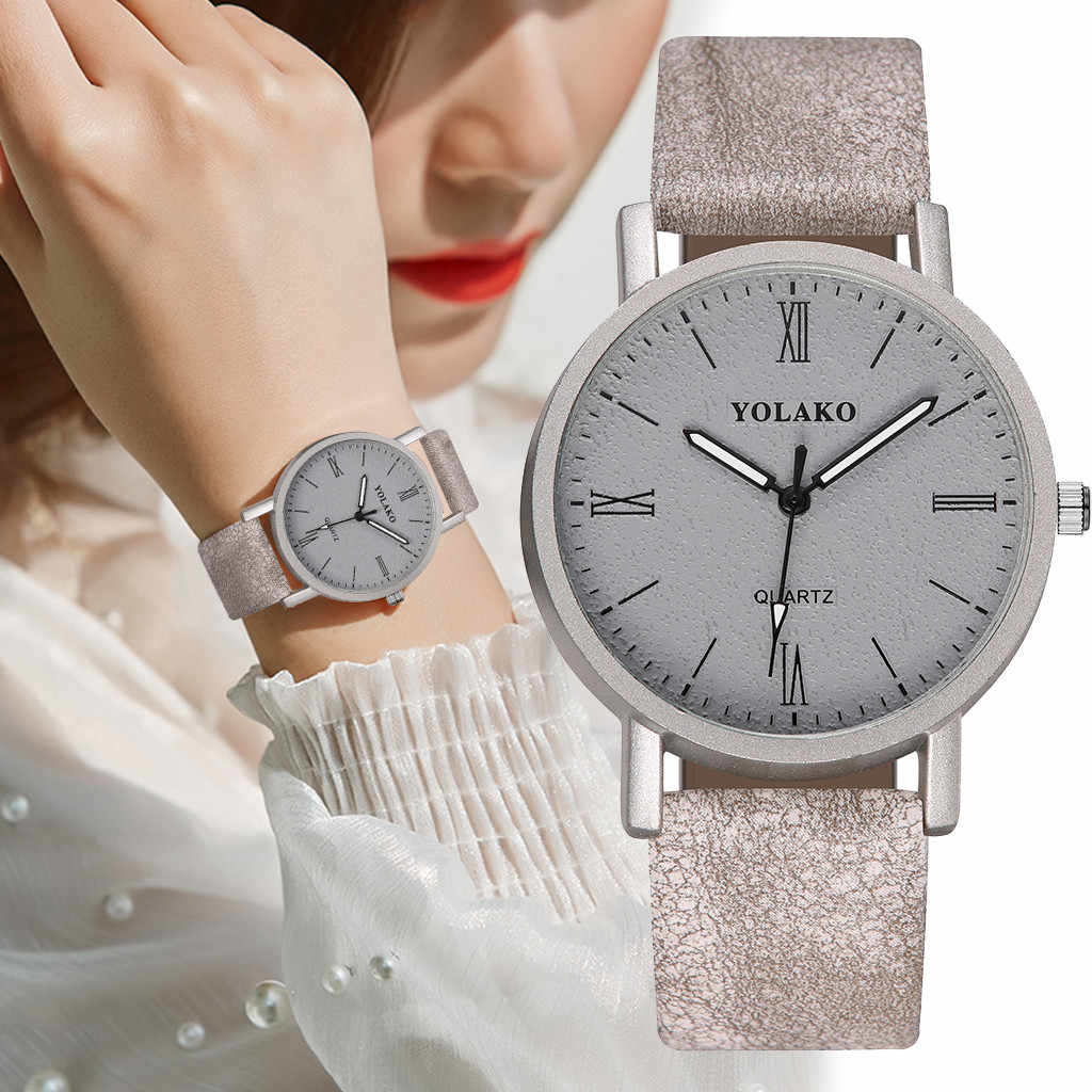 YOLAKO Fashion Simple Gradient Dial With Diamond Belt Ladies Quartz Watch