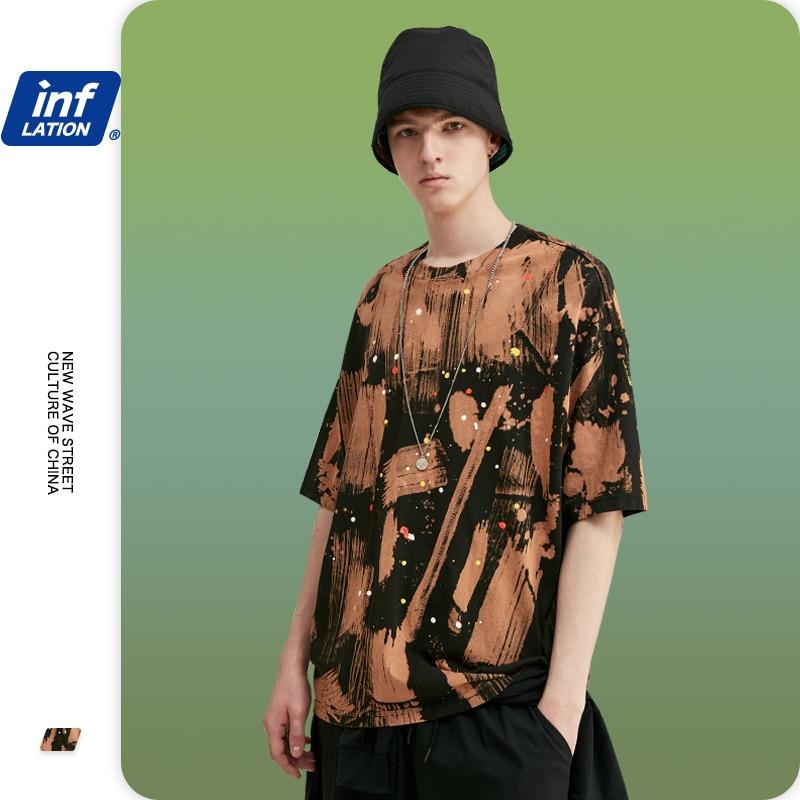 INFLATION Tie Dye Brwon Color Men Tshirt Street Wear Hip Hop Men Tshirt Tie Dye Men Oversized Tshirt 100% Cotton Tshirt 1114S20