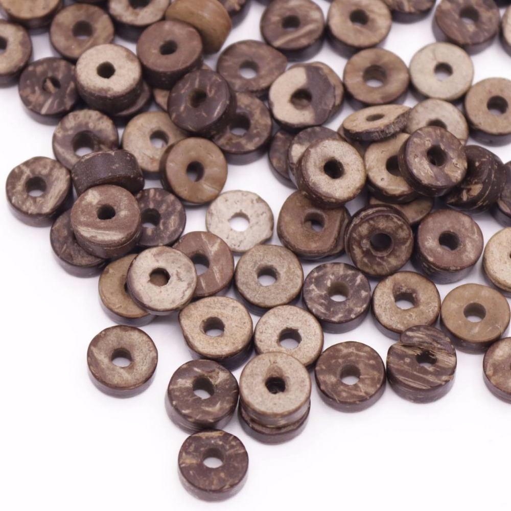 Купить с кэшбэком 500PCS 8-9mm Natural Brown flat found tube Coconut Shell loose beads thick 2mm