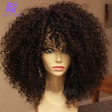 Curly Wigs Afro Kinky Luffywig Remy Full-Machine Women Bangs with Scalp-Base Top