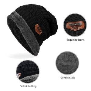 Image 5 - ファッション男性暖かいニット冬の帽子ソフト帽子skulliesビーニー冬の帽子ユニセックス秋冬ニットキャップ6色