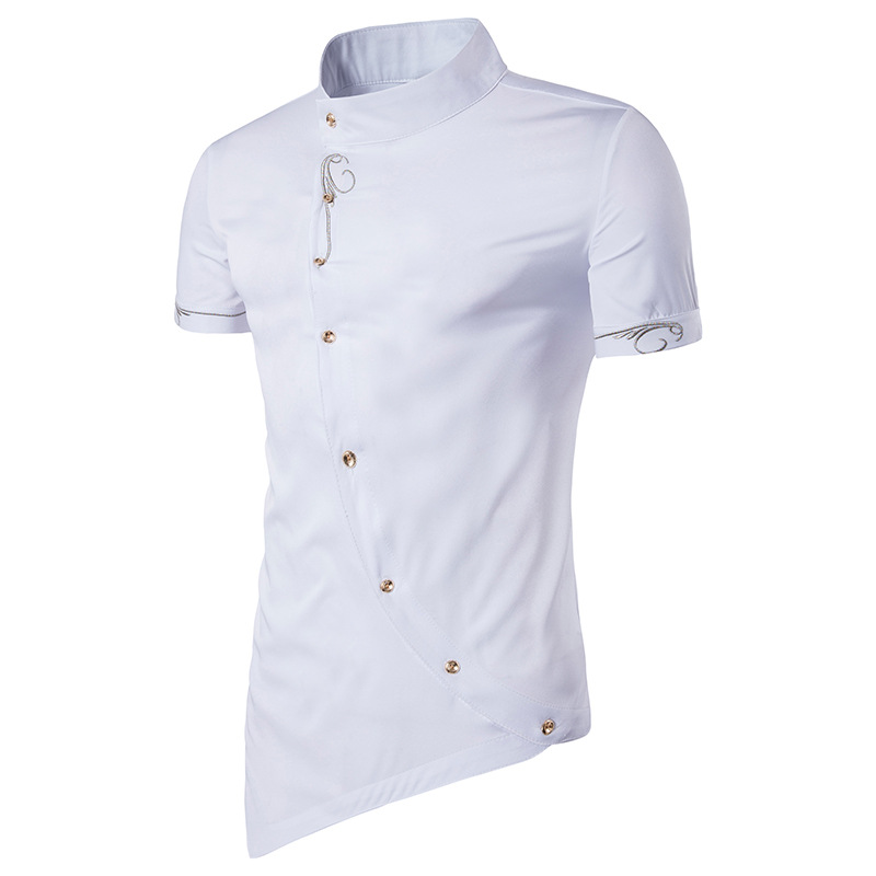 Fashion Mandarin Collar Dress Shirts Men 2018 Brand New Summer Slim Fit Short Sleeve Shirt Men Casual Shirt Tops With Embroidery