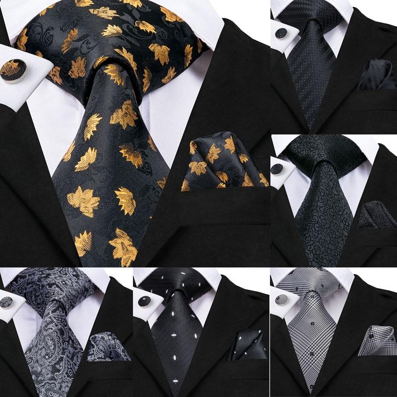 Hi-Tie 8.5cm Men 100% Silk Tie Black Floral Ties For Men Gold Tie Set Formal Necktie For Wedding Business Party Wholesale