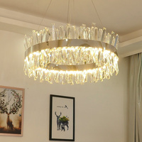 FKL Modern Round Crystal Chandelier For Dining Room Rectangle Design Kitchen Island Lighting Fixtures Chrome LED Cristal Lustre
