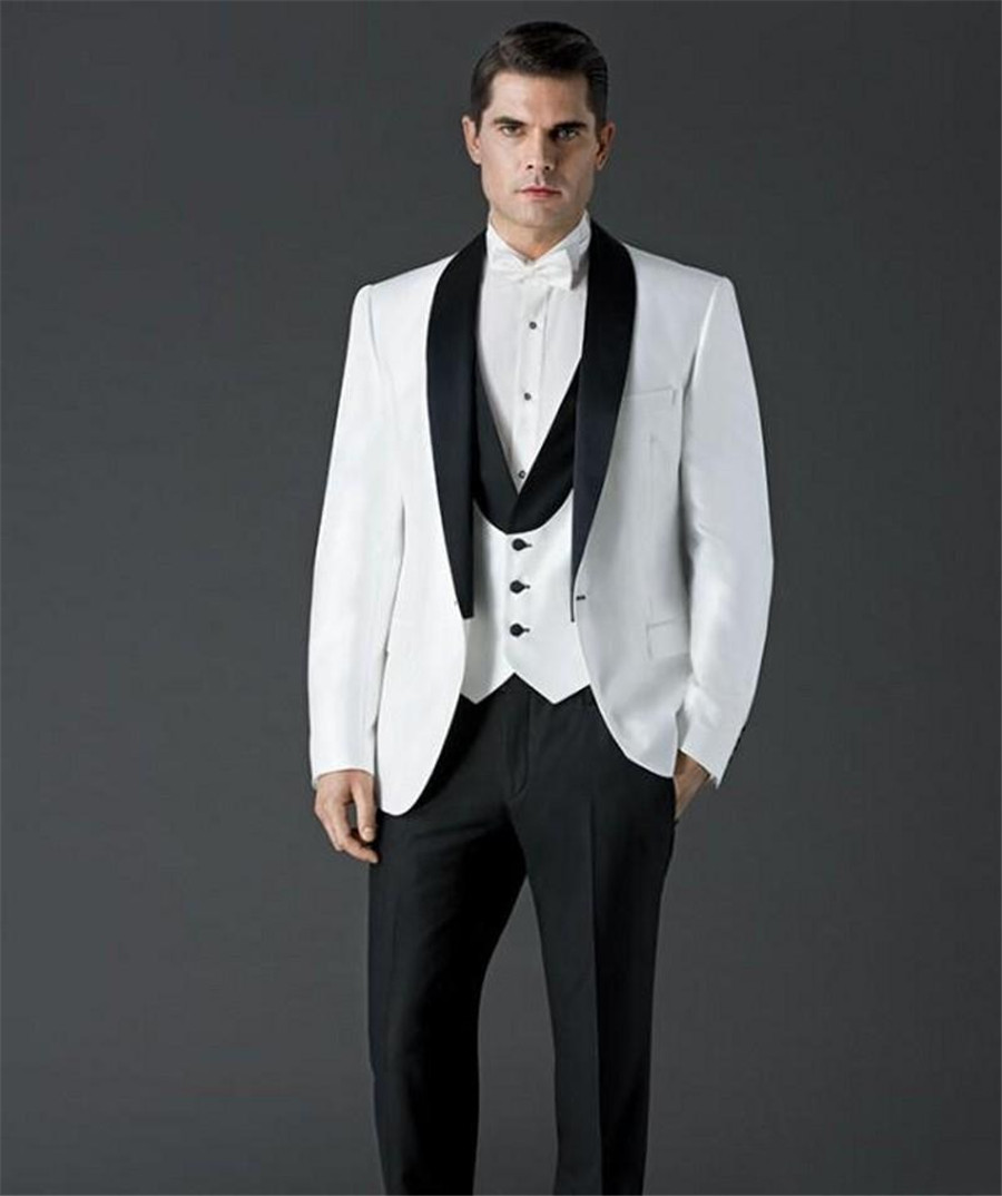 Custom Made Groomsmen Shawl Black Lapel Groom Tuxedos One Button Men Suits Wedding Best Man Blazer (Jacket+Pants+Vest)