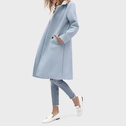 Inverno elegante mistura de lã moda feminina sólido longo casacos de lã minimalista do vintage casaco de escritório camelo magro oversize outwear