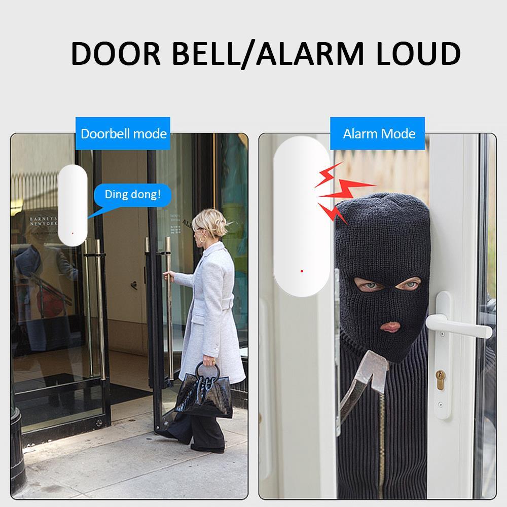 Smart Tuya Door Intrusion Detector Door Window Sensor Shop Security Systems Entry Warning Alarm Office 1set White Home Wireless