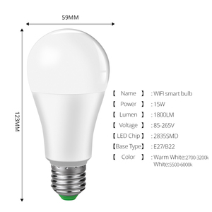 Image 2 - 4 pcs 15W 1800 lm WiFi Ampoule LED E27 B22 Intelligent Light Bulb Dimmable Smart ampolleta wifi Lamp Alexa Google Assistant Echo