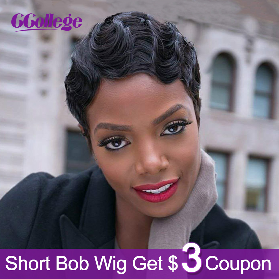Ccollege Finger Wave Wigs Human Hair Pixie Cut Wig Peruvian Short Bob Wigs For Black Woman Color 1B Full Machine Wig Non Remy