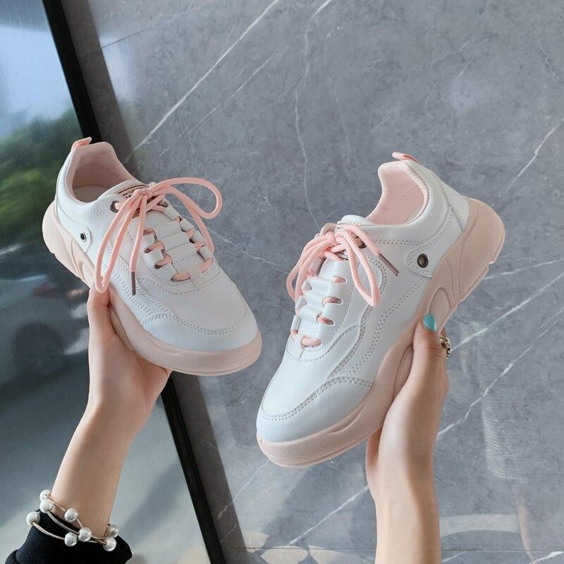 Кроссовки с низким верхом для девочек, Модные дышащие сникерсы на толстой подошве, со шнуровкой, повседневная обувь для прогулок, осень 2020