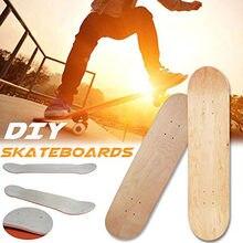 Arte 8-layer diy pintura de bordo em branco duplo rocker skate deck placa de skate de madeira natural design côncavo crianças meninos iniciantes