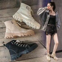 2020 Black boots Women Ankle Boots Lace Up Flats Womens Platform Shoes Woman Spring Leather Bota Feminina Military Botas Mujer