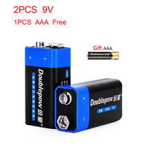 2PCS Disposable Battery 6F22 9V Zinc Carbon Primary Battery for KTV Multimeter Microphone Electronic Devices Battery(AAA FREE)