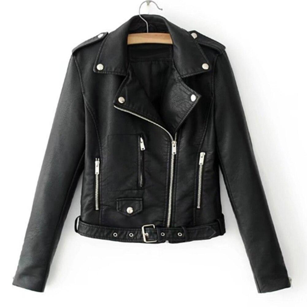 H20882d49aa174b93b5308f543cc28238E Fashion Punk Women Coat Jacket Leather Long Sleeve Lapel Zipper Button Motorcycle Jacket Short Coat For Women's Clothings