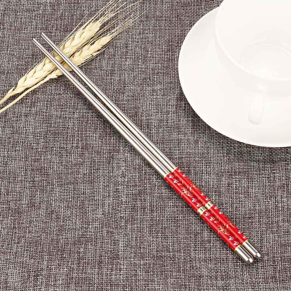 1 Пара Китайский металлический палочки дозирующая детская ложка для Non-slip Нержавеющаясталь палками комплект многоразовые Еда щупы багет #50...