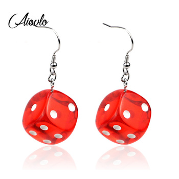 Aiovlo 2019 Women s Earring Red 3D Chess Game Hip Hop Night Club Jewelry Long Stainless.jpg 350x350 - Aiovlo 2019 Women's Earring Red 3D Chess Game Hip Hop Night Club Jewelry Long Stainless Steel Ear Hook & Acrylic Dice Earrings