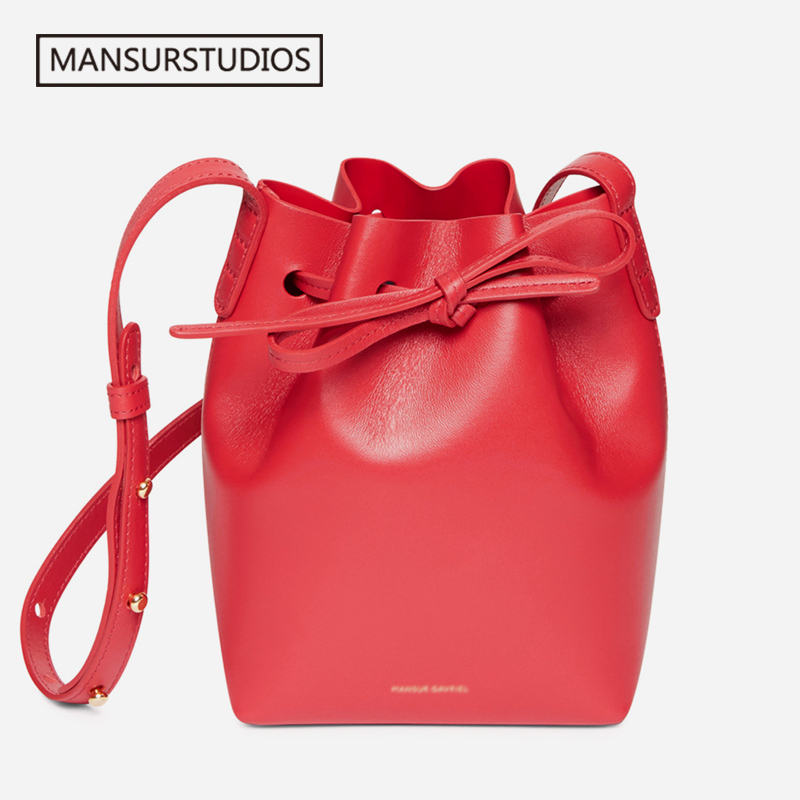 Image 4 - MANSURSTUDIOS MINI Bucket Bag Mansur women Real Leather Shoulder 