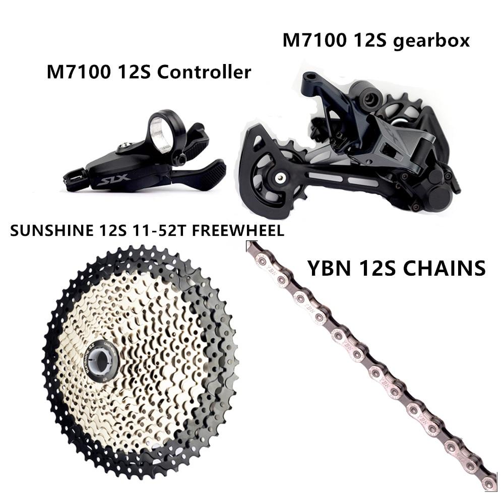 Slx m7100/deore xt m8100 kit mtb mountain bike 1x12 velocidade 11-50t cassete volante corrente comumente disponível não-spline