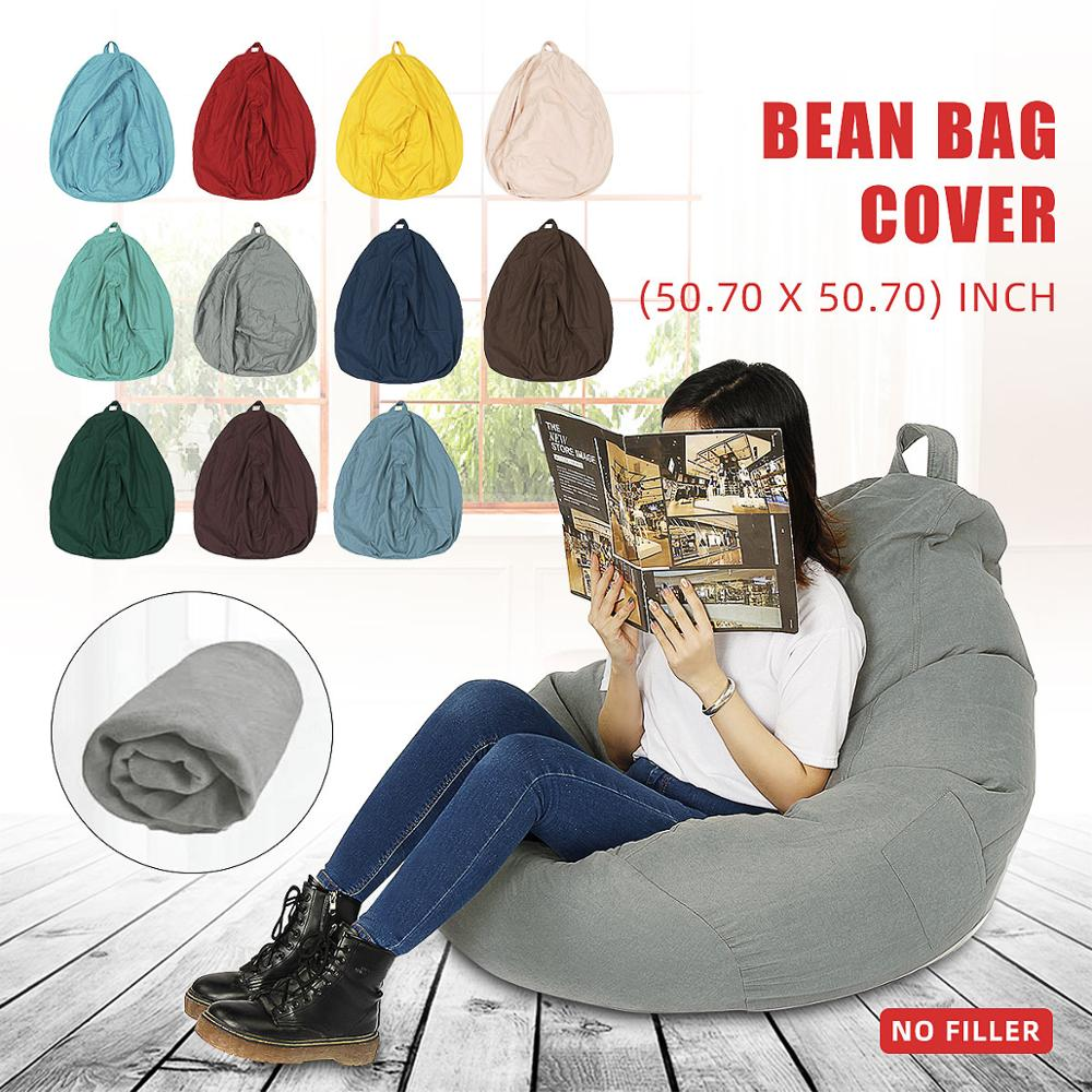 11 Colors 130x130cm Lazy Sofas Cover Chairs Without Filler Linen Cloth Lounger Seat Bean Bag Pouf Puff Couch Tatami Living Room