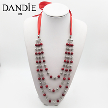 Dandie Glass Beads And Metal Multi-Layer Necklace Fashion Modeling Accessories Simple And Elegant Jewelry Gifts For Women dandie glass beads and metal multi layer necklace fashion modeling accessories simple and elegant jewelry gifts for women
