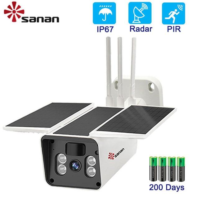 SANAN 1080P Năng Lượng Mặt Trời Camera WIFI Không Dây Ngoài Trời IP67 10400MAh Chạy Bằng Pin An Ninh IP PIR/Radar Con Người phát Hiện Camera Quan Sát
