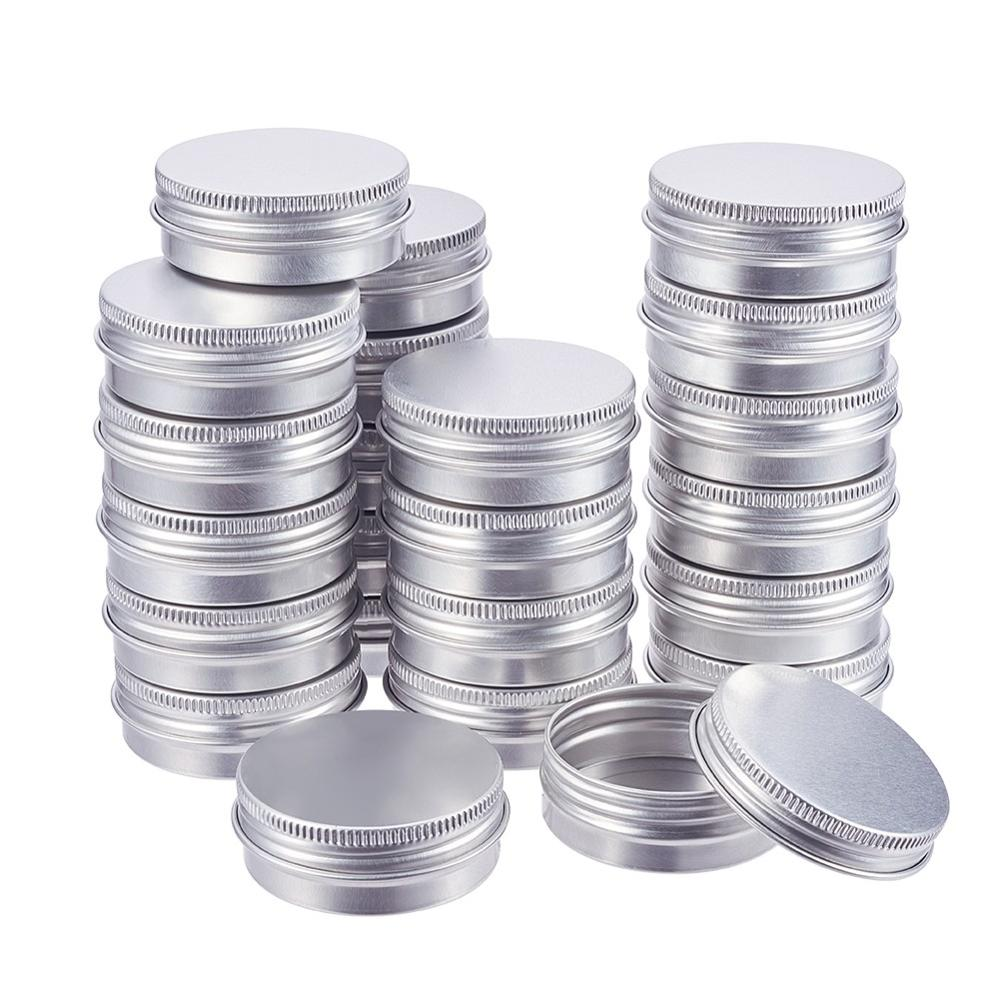 50Pcs 5ml 20ml <font><b>25ml</b></font> Round Aluminium Tin Cans Jar Jewelry Box Sample <font><b>Container</b></font> Makeup Cosmetic Cream Storage Pots with Screw Cap image