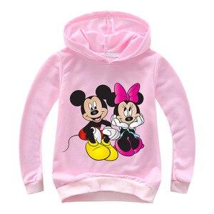 Толстовка для девочек 2-16 лет 2020, детские толстовки с капюшоном, осенняя толстовка с Минни Маус, пуловер с принтом, рубашка с длинными рукавам...