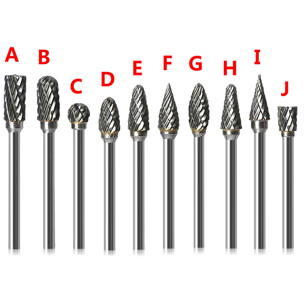 10 Tungsten Steel Grinding Heads Wood Grinding Engraving Knife High Quality Tungsten Steel Drill Bits Spiral Grinding