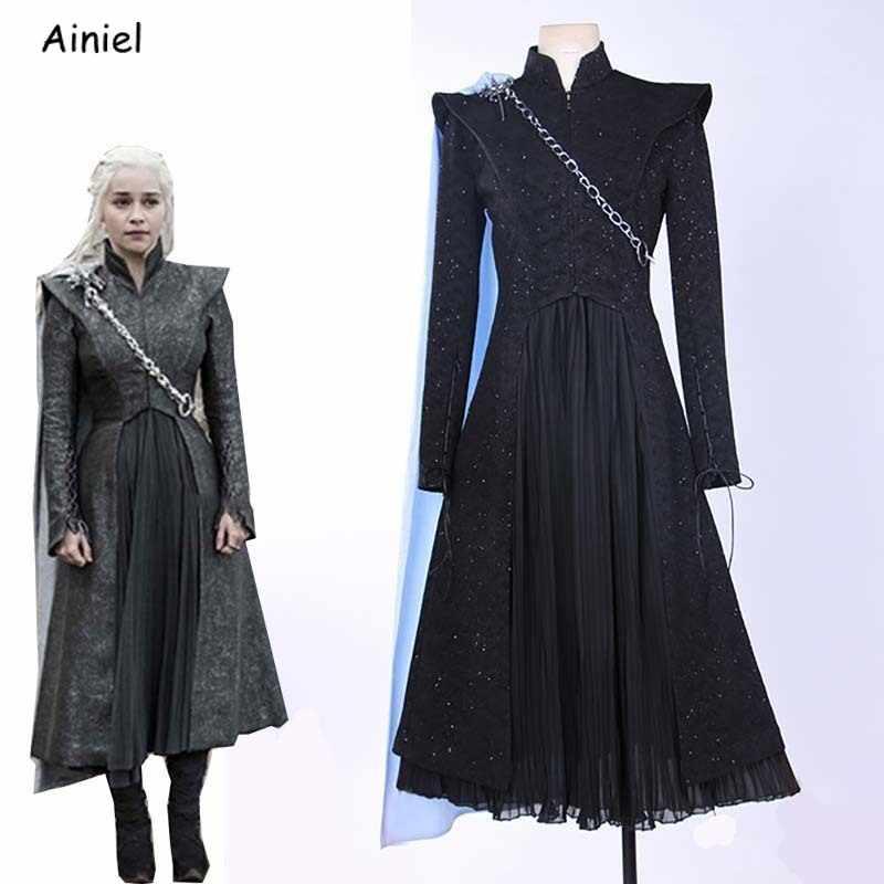 סרט משחק של עונת הכס Daenerys Targaryen Cosplay תלבושות נשים בנות ליל כל הקדושים קרנבל מדים פאות מגפי תפור לפי מידה