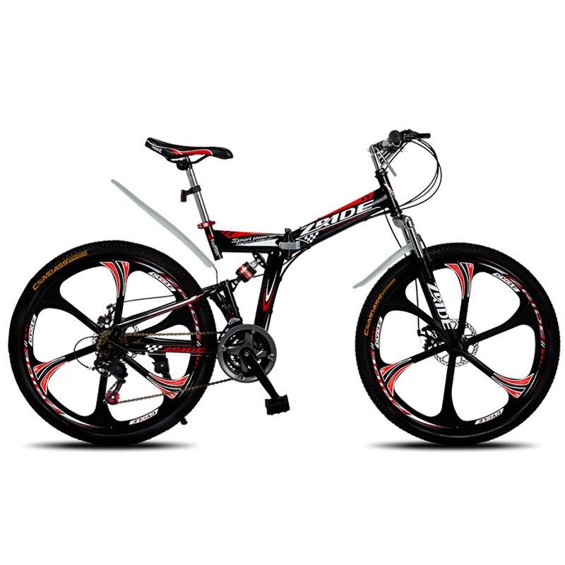 マウンテンバイク 26 インチ 21/24/27/30 速度 6 ナイフ折りたたみマウンテン自転車ダブルディスクブレーキ 2019 新大人のための適切な