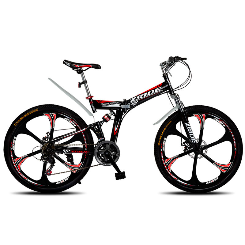 Mountain Bike 26 Inch 21/24/27/30 Speed 6 Knife Folding Mountain Bicycle Double Disc Brake 2019 New Suitable For Adults