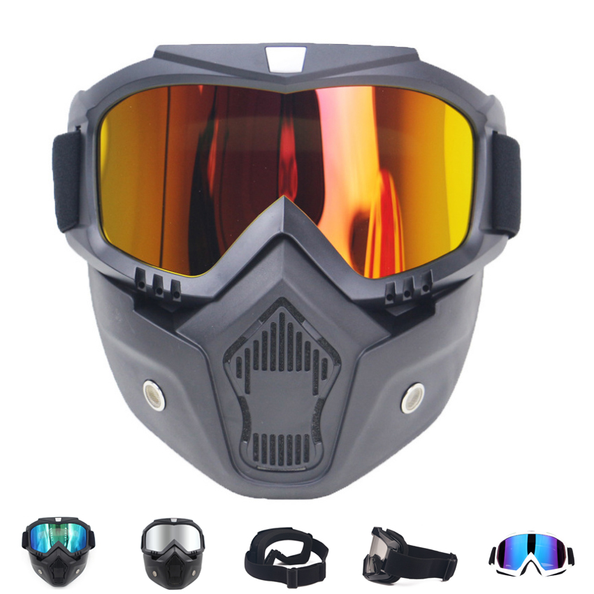 1PC Men Women Ski Snowboard Mask Winter Snowmobile Skiing Goggles Windproof Skiing Glass Motocross Sunglasses With Mouth Filter