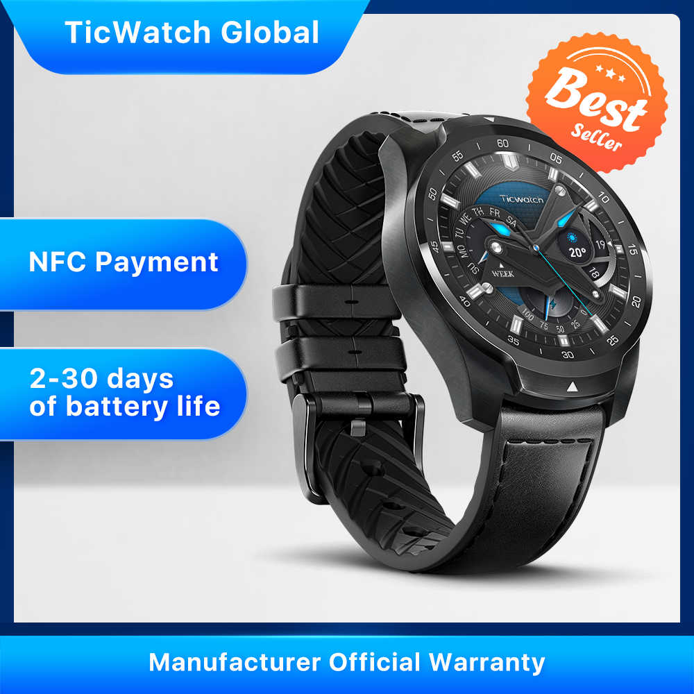 Ticwatch Pro Smart Watch Versi Global dengan Android Wear untuk IOS & Android Pembayaran NFC GPS Tahan Air Bluetooth smartwatch
