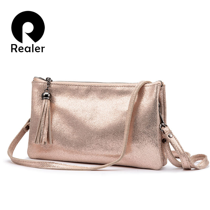 REALER Crossbody Bags For Women Genuine Leather Handbags Female Shoulder Messenger Bags Small Totes High Quality Top-handle Bag