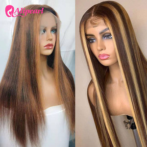 Brown 13*4 Highlight Wig Straight Lace Front Wigs Honey Blonde Brazilian Remy Hair PrePlucked For Black Women Alipearl Hair