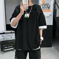 Мужская Летняя модная свободная футболка с коротким рукавом и светоотражающим принтом в Корейском стиле, топы с круглым вырезом, футболка, ...