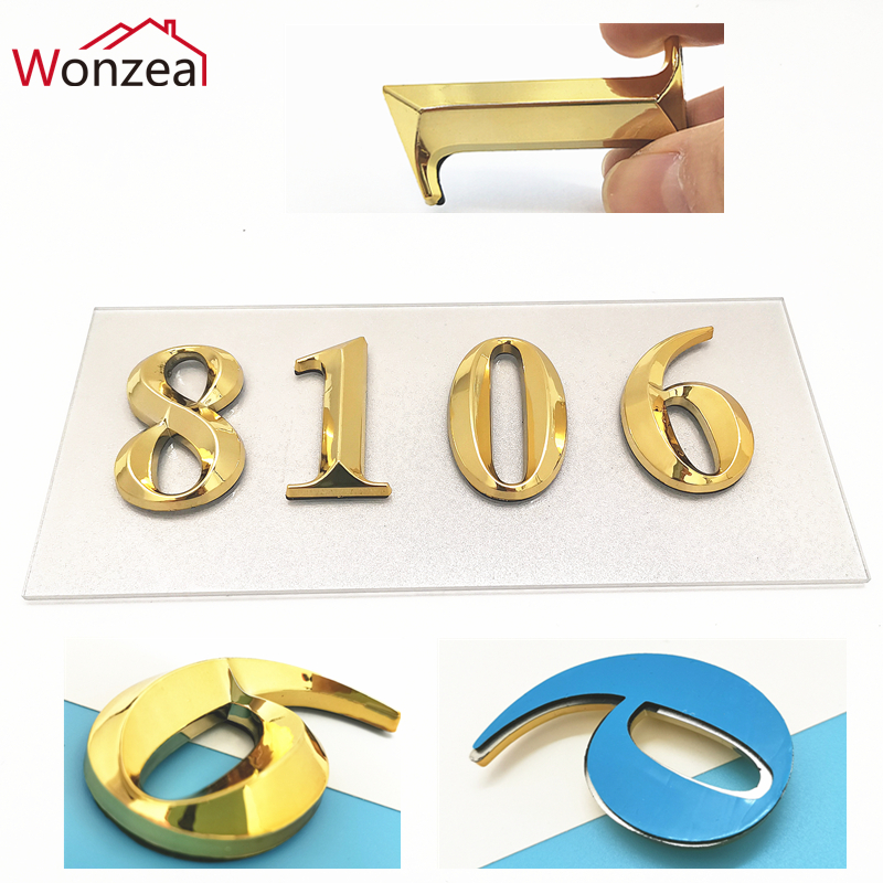 3D Modern Self Adhesive Number On The Door Sign Golden Color 0 To 9 House Number 50*30mm Home Sticker Address Number