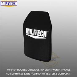 MILITECH Kugelsichere Platte 10 x 12 NIJ IIIA 3A 0101.06 & NIJ 0101,07 HG2 Ultra Licht Gewicht UHMWPE ballistischen Rucksack Panel (1 PC)