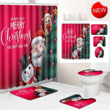 Waterproof Merry Christmas Santa Father Bell Elk Shower Curtain Bathroom w/12 Hooks Pedestal Rug Lid Toilet Cover Bath Mat Set(China)